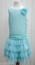 Girls Aqua Blue Sleeveless RuffleTuTu Summer Party Dress By Pretty Ages 5 6 7