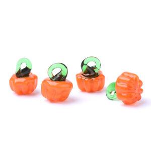20pc Handmade Lampwork Pumpkin Charms Halloween Mini Cute Pendants Craft 14~16mm