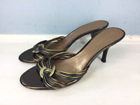 Anne Klein 7.5 Bronze Gray Brown High Heel Slide Sandals Excellent Cocktail