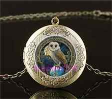 Vintage Wicca Owl Photo Cabochon Glass Brass Chain Locket Pendant Necklace