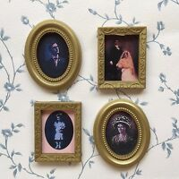 1:12 Scale 4 Pictures (Photos) In Frames, Dolls House Miniature Wall Paintings