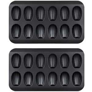 2 Packs Non-Stick Madeleine Pot Baking Mold 12 with Shell Cake Baking Tray