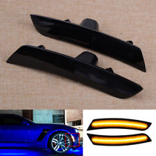 2x Front Smoked Turn Signal Side Marker Light Fit for Chevy Camaro Cadillac ATS