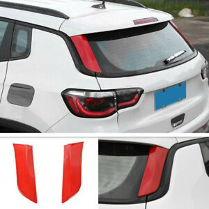 For 2017-2021 Jeep Compass ABS Red Look Rear Window Side Cover Spoiler Trim 2PC