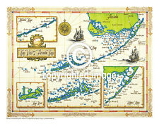 "19.5 x 25"" Florida Keys Vintage Look Map Printed on Frenchtone Parchment Paper"