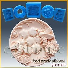 2D Silicone Soap/sugar craft/fondant/chocolate Mold-Busy Bee Plate-free shipping