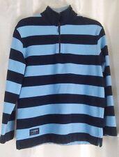 Ralph Lauren Womens Top Sweatshirt Black Blue Stripe 1/4 Zip Petite M L