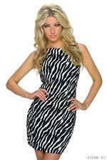 *♥*Sexy Cocktail-Kleid Business Wellen Abend-Kleid Zebra Gr. 36 Schwarz/Weiß
