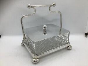 Antique Silver Plated & Glass Sardine Dish