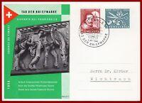 Schweiz Tag der Briefmarke 1956 Sonderkarte mit Juventute/Patria-Frankatur