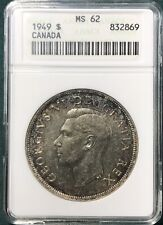 1949 Canada $1 One Dollar KM #47 Silver Coin ANACS MS 62 Old-Style White Holder