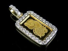 24K Yellow Gold 1G Lady Fortuna Suisse Pamp Bar Real Diamond Pendant 2/5 Ct 1.2""