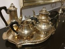 1630g STERLING SILVER COFFEE-TEA XIX SET 6 PIECES ON ELEGANT TRAY&NOBILITY CROWN
