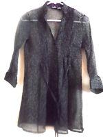 Rue 21  womens blouse 3/4 sleeves semi-sheer sz Medium black floral