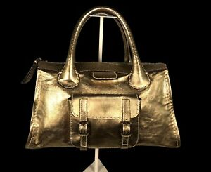 Gold Metallic Chloe Double Handle Large Shoulder Bag