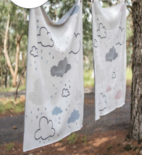 Baby Boys Cotton Blue Clouds Cot Pram Blanket Wrap Indus Design Gift Boxed