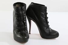 CHRISTIAN LOUBOUTIN Black Leather Fifre Corset High Heel Ankle Boots Booties 40