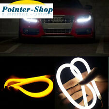 2x 12V 60cm Dual Color White Amber LED Tube Strip Headlight DRL Daytime Lights