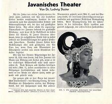 Dr.Ludwig Sluster Javanisches Theater Schattentheater Puppenspieler Wajang..1932