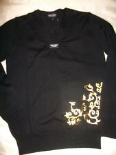 Galvin Green Ladies V Neck Sweater in Black & Gold Soft Wool/Acrylic