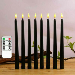 Black Flameless Candles Battery Operated Fake Pillar Candlelight Home Decoration