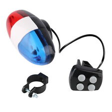Bike Bicycle Cycling 4 Sounds 6 LED Police Car Siren Electric Light Horn Bell EW