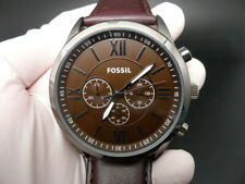 New Old Stock FOSSIL BQ2087 Chronograph Leather Strap Quartz Men Watch