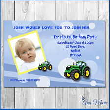 10 x PERSONALISED BIRTHDAY INVITATIONS TRACTOR INVITES ANY AGE 1 2 3 4 5 ......