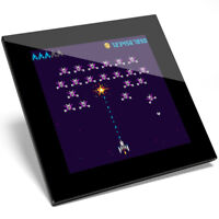 1 x Vintage Gamer Space Invaders Glass Coaster - Kitchen Student Gift #14709