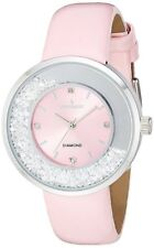 Peugeot Women's 'Diamond' Quartz Metal and Leather Pink Watch 3041PK