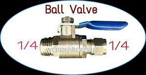 "Brass Inline Ball Valve Connector 1/4""x1/4"" Thread Male Shut Off RO"