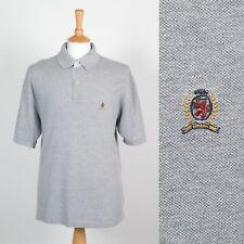 Tommy Hilfiger Camisa Camiseta Polo Para Hombre Top Plain Gris Informal pique de algodón Golf L