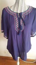 Kori America Short Sleeve Embroider Neck Line Purple Blouse Top Womens Size Med