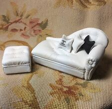 Pat Tyler Dollhouse Miniature Leather Sofa Couch Lounge Divan Settee & Ottoman