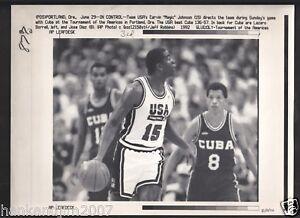 Magic Johnson 1992 Dream Team USA Vintage A/P Laser Wire Photo with caption