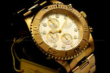 Invicta Pro Diver 18K Gold Plated Champagne Dial Chrono S.S Bracelet Watch NEW