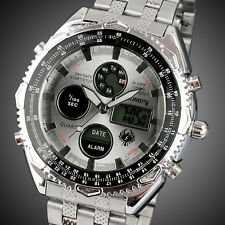 Infantry Mens Digital Quartz Wrist Watch Date Luxury Sports Army Stainless Steel Silver