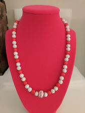 Acrylic White & Silver Star Beaded Necklace with Red Beads