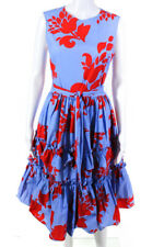 Carolina Herrera Womens Cotton Sleeveless Ruffle Sundress Blue Red Size 4