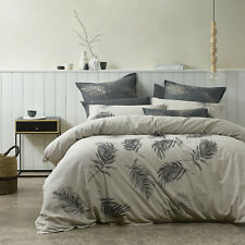 Bianca Airlie Linen Feather Design Queen Size Bed Doona Duvet Quilt Cover Set