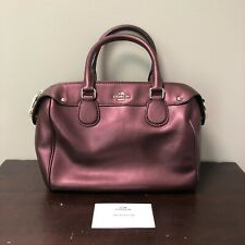 Auth. COACH Leather Mini Bennett Satchel Crossbody Bag F36624 Metallic Cherry