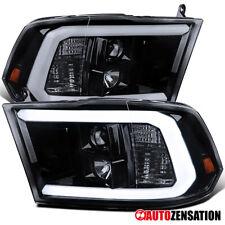 Para 2009-2018 Dodge Ram Led Drl Bar Preto Brilhante Fumaça Projector Headlights Par