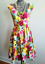 Vintage 50s Style Floral Swing Dress Sz S