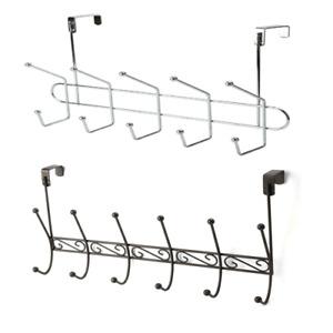 10 / 12 Over Door Hook Chrome Bathroom Storage Rack Coat Towel Clothes Hanger