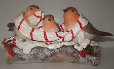 Robin Family On Log Christmas Ornament Three robins on a log