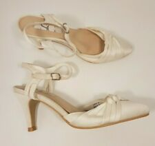 Bhs size 4 (37) ivory faux leather satin buckle strap slim heel bridal shoes