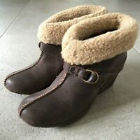 TIMBERLAND Womens Ankle Boots UK Size 6 Brown Leather Clog Heel Fleece Fur Cuff