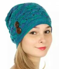f44ce1c6059f4b Womens Oversized Baggy Thick Warm Cap Hat Skully Cable Knit Slouchy Beanie  Teal