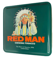 "Vintage 1990 Limited Edition Red Man Chewing Tobacco ""First In America"" Tin"
