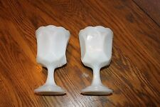 "2 MILK GLASS GOBLETS SUNDAE CUPS SCALLOPED EDGE 5.75"" tall x 3.5"" wide footed."